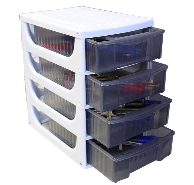 Συρταριέρα Πλαστική Mini 17x25x27cm Γραφέιου Λευκό με Διάφανα Συρτάρια BAMA Ιταλίας