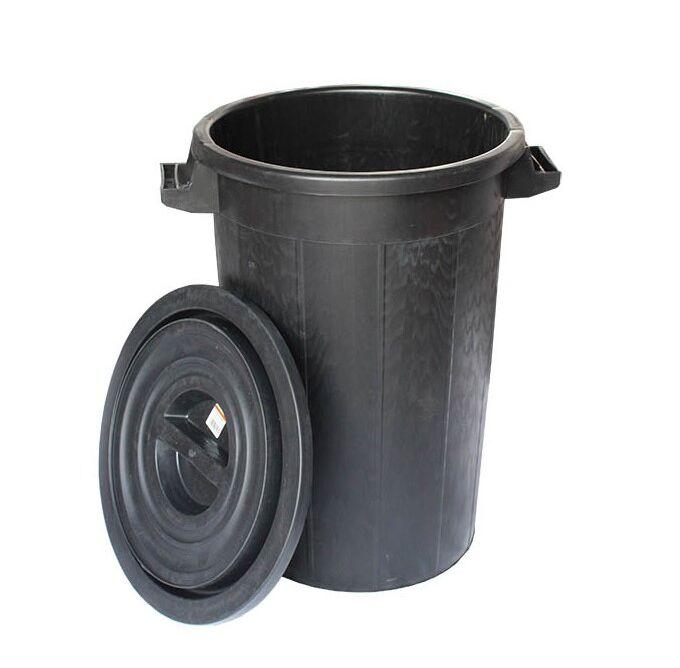 Κάδος Απορριμμάτων 100lt Φ52.5x65cm Πλαστικός με Καπάκι 3.72Kg Επαγγελματικός Μαύρος