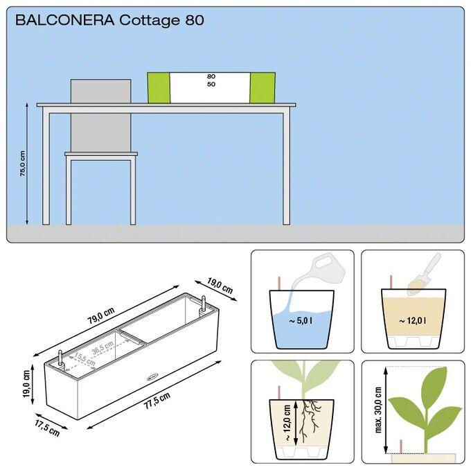 LECHUZA Balconera Cottage80 Ζαρντινιέρα 79x19x19cm Αυτοποτιζόμενη με 2 Δοχεία Φύτευσης ΛΕΥΚΗ Γερμανίας RedDot Award 2010