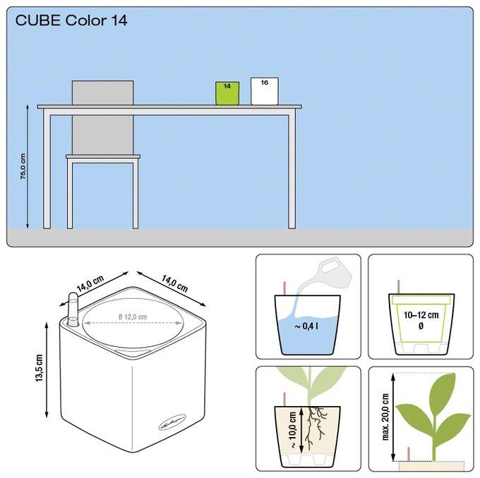LECHUZA Cube Color14 Επιτραπέζια Γλάστρα 14x14x13.5cm Αυτοποτιζόμενη με Δοχείο ΛΕΥΚΗ Γερμανίας RedDot Award 2014/German Design Award 2016