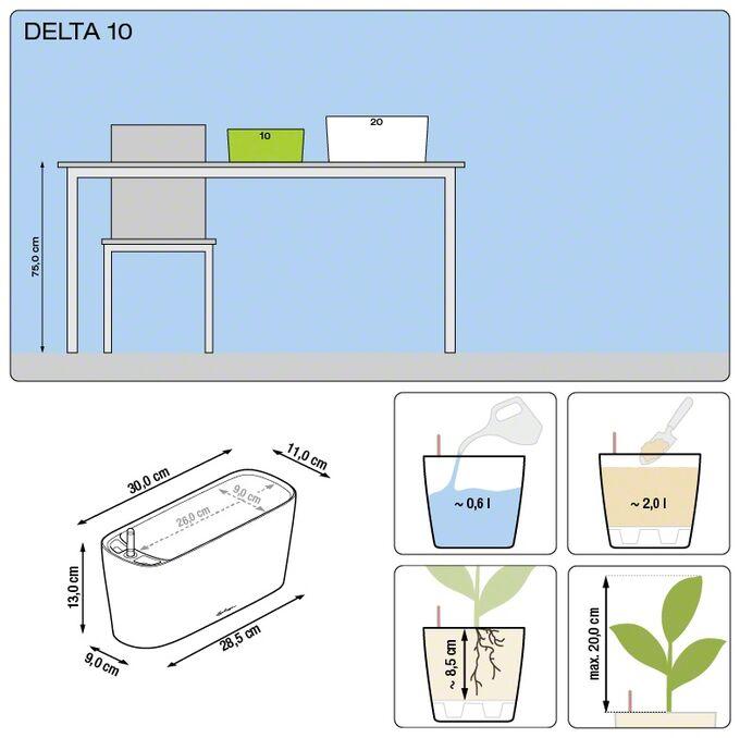 LECHUZA Delta10 Επιτραπέζια Γλάστρα 30x11x13cm Αυτοποτιζόμενη με Δοχείο Φύτευσης ΚΟΚΚΙΝΗ Γερμανίας RedDot Award 2009Designpreis Deutchland 2010