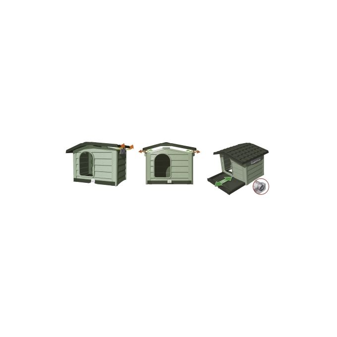 BAMA ITALY Σπίτι Σκύλου 89x75x62cm Medium με Ρυθμιζόμενη Οροφή και Πάτωμα 10kg Μπεζ/Καφέ BUNGALOW