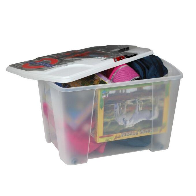 Κουτί Αποθήκευσης 56x39x35cm Πλαστικό 55lt Διάφανο Decor London ARTPLAST Ιταλίας