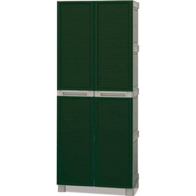 Πλαστική Ντουλάπα 19kg 70X39X172cm με Χώρισμα MASSIF 2φυλλη (Ατσάλινοι Μεντεσέδες) 5 Χώρων Πράσινο-Γκρι ARTPLAST LINEA CONCERT Ιταλίας