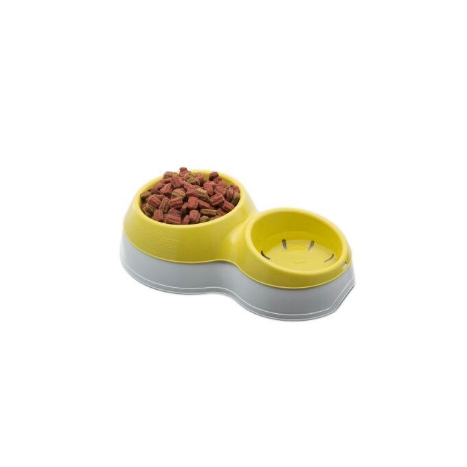 Ταΐστρα Σκύλου-Γάτας 2σε1 33x20x9cm  Λευκό-Κίτρινο BAMA Ιταλίας