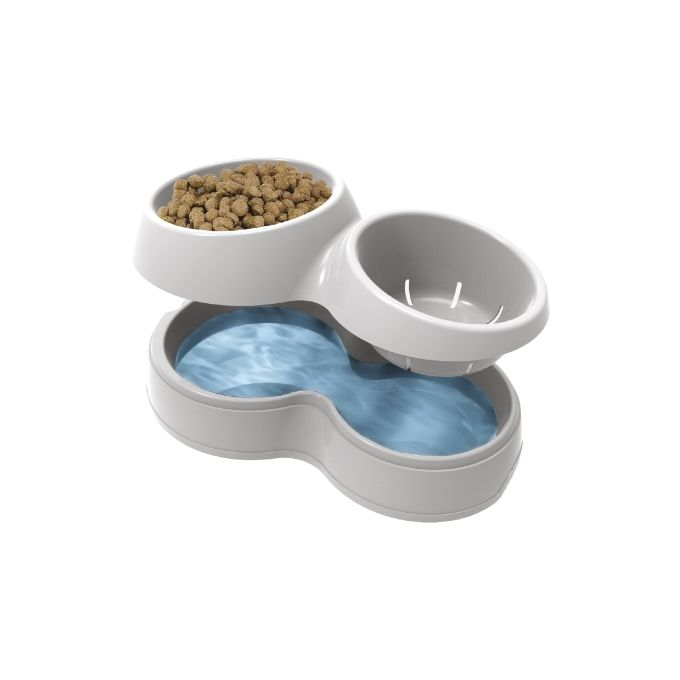 Ταΐστρα Σκύλου-Γάτας 2σε1 44x27x12cm Λευκό-Καφέ BAMA Ιταλίας