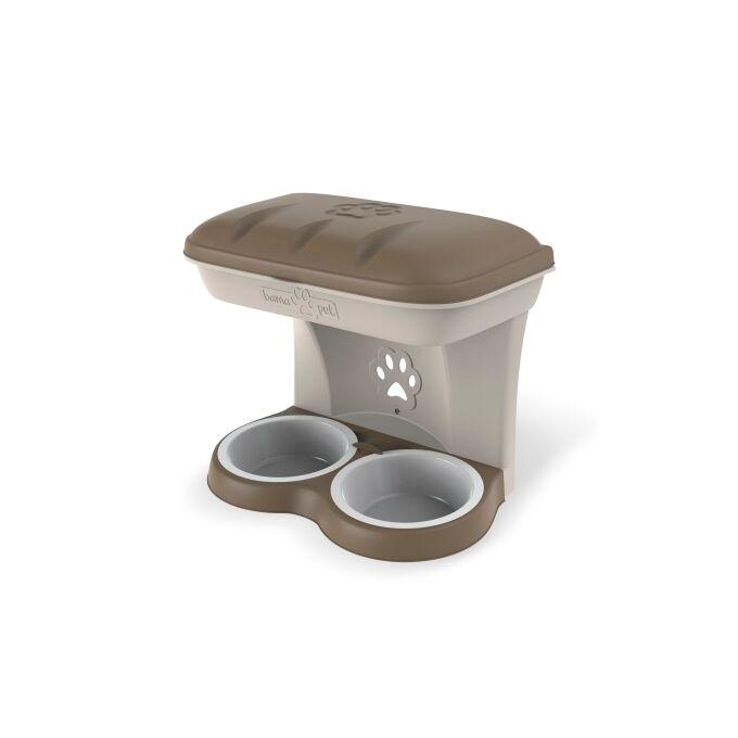Ταΐστρα-Ποτίστρα Σκύλων 2σε1 48x27x42cm Μπεζ-Καφέ BAMA Ιταλίας