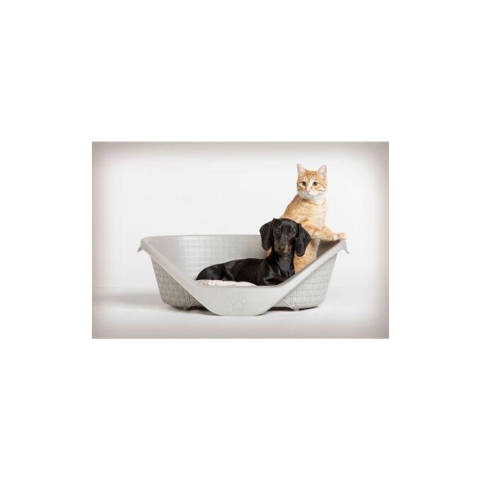 Κρεβάτι Σκύλου-Γάτας 60x44x21cm RATTAN με Σύστημα Αερισμού Γκρι BAMA Ιταλίας