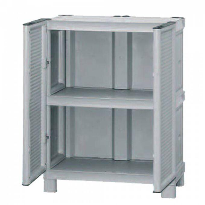 Πλαστική Ντουλάπα 70x39x92cm 11kg με Μεταλλικούς STRONG Μεντεσέδες MASSIF 2 Αποθηκευτικοί Χώροι Λευκό Πάγου-Ραφ ARTPLAST CONCERT ITALY