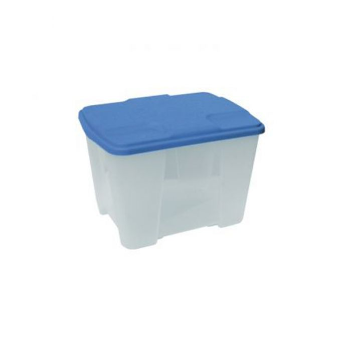 Κουτί Αποθήκευσης 40x30x26cm Πλαστικό 24lt Βάρος 1kg Διάφανο με Μπλε Καπάκι Artplast Ιταλίας