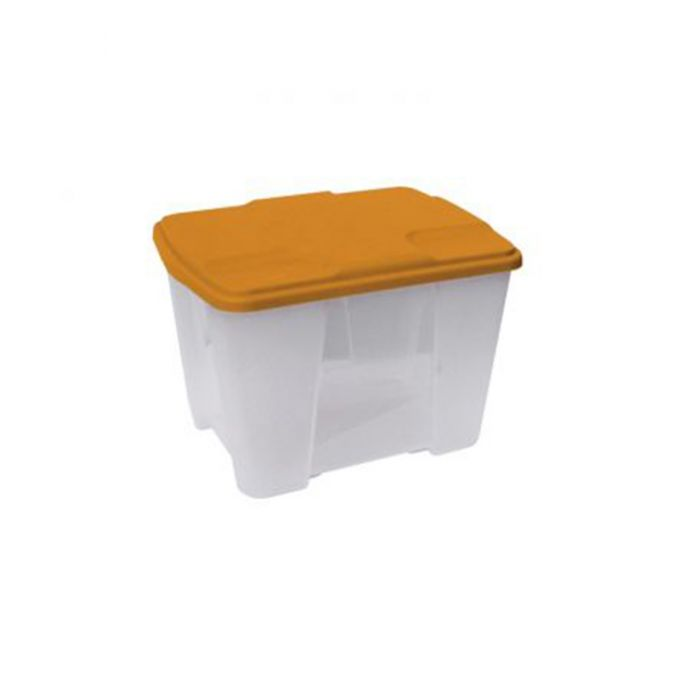 Κουτί Αποθήκευσης 40x30x26cm Πλαστικό 24lt Βάρος 1kg Διάφανο με Πορτοκαλί Καπάκι Artplast Ιταλίας