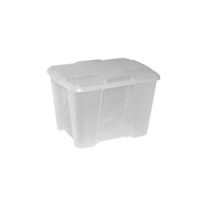 Κουτί Αποθήκευσης 40x30x26cm Πλαστικό 24lt Βάρος 1kg Διάφανο με Λευκό Καπάκι Artplast Ιταλίας