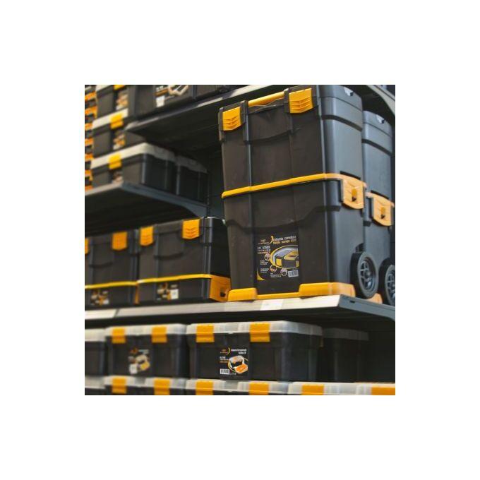 Εργαλειοθήκη Τροχήλατη Αποσπώμενη 2σε1 Επαγγελματική Πλαστική 46x27x67cm (29'') 2όροφη με 2 Ταμπακιέρες και Χειρολαβή Βάρος 4.73kg Μαύρο-Πορτοκαλί Artplast Ιταλίας