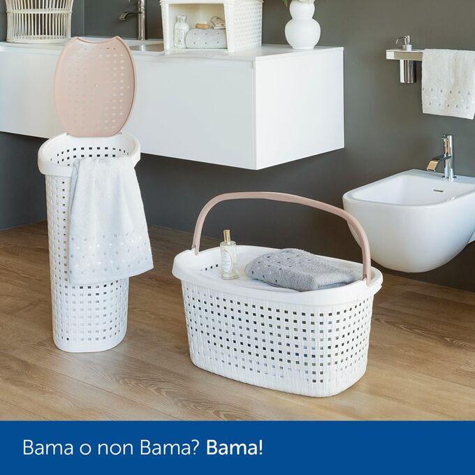 Καλάθι Ρούχων και Κήπου 60x40x27cm Πλαστικό 40lt με Χειρολαβή Γκρι-Λευκό BAMA Ιταλίας