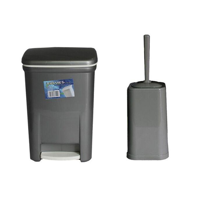 Σετ Κάδος Μπάνιου με Πεντάλ 13.5lt με Εσωτερικό Κάδο 7lt και Πιγκάλ Πλαστικό Ασημί VIOMES Ελλάδας