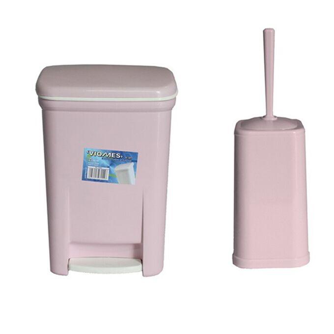 Σετ Κάδος Μπάνιου με Πεντάλ 13.5lt με Εσωτερικό Κάδο 7lt και Πιγκάλ Πλαστικό Ροζ VIOMES Ελλάδας
