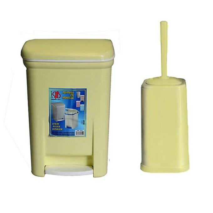 Σετ Κάδος Μπάνιου με Πεντάλ 13.5lt με Εσωτερικό Κάδο 7lt και Πιγκάλ Πλαστικό Κρεμ VIOMES Ελλάδας