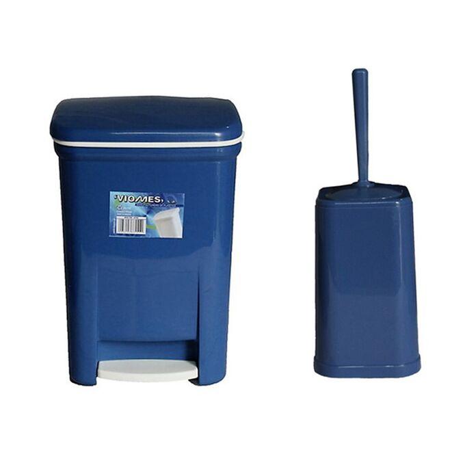 Σετ Κάδος Μπάνιου με Πεντάλ 13.5lt με Εσωτερικό Κάδο 7lt και Πιγκάλ Πλαστικό Μπλέ VIOMES Ελλάδας