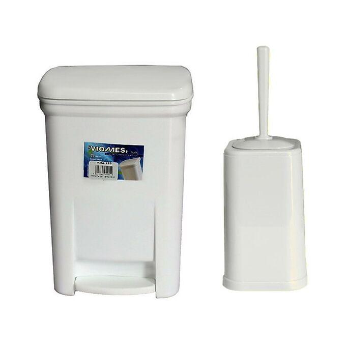 Σετ Κάδος Μπάνιου με Πεντάλ 13.5lt με Εσωτερικό Κάδο 7lt και Πιγκάλ Πλαστικό Λευκό VIOMES Ελλάδας