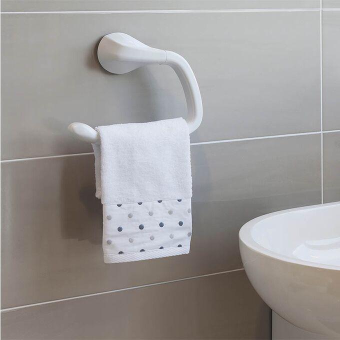 Πετσετοθήκη Μπάνιου 24.3x7.4x19.8cm Πλαστική Επιτοίχια με Βεντούζα και Σύστημα Κλειδώματος Λευκή BAMA Ιταλίας