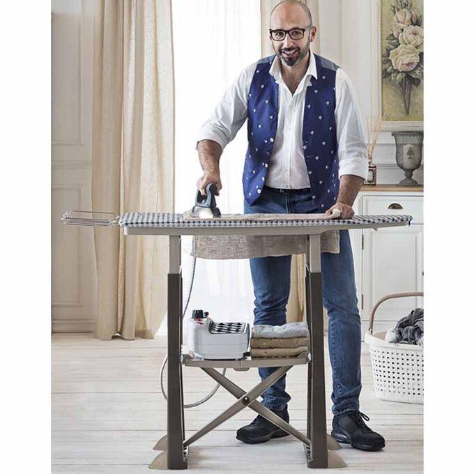 BAMA ITALY Σιδερώστρα Ατμού 40x19x113cm Πλαστική 7.4kg με Ράφι και Ρυθμιζόμενο Ύψος Καφέ-Μπεζ TREND