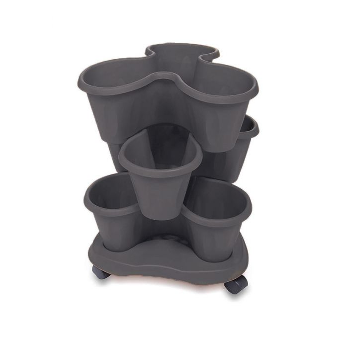 BAMA ITALY ΣΕΤ 3 Γλάστρες Σύνθεσης και Βάση Με Ρόδες Ø40x16cm 30lt Πλαστική Γκρι 1.45kg TRIFOGLIO