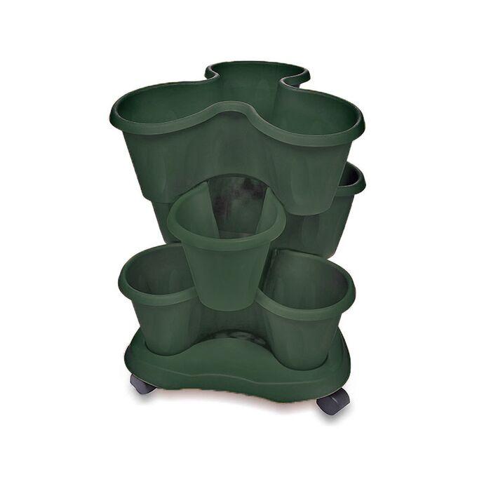 BAMA ITALY ΣΕΤ 3 Γλάστρες Σύνθεσης και Βάση Με Ρόδες Ø40x16cm 30lt Πλαστική Πράσινη 1.45kg TRIFOGLIO