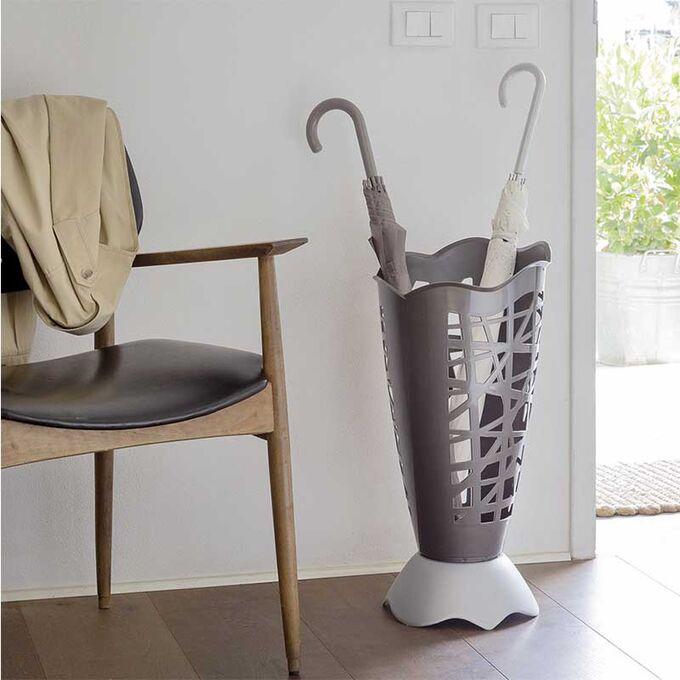 Ομπρελοθήκη Πλαστική Ø30x60.5cm με Διάτρητη Επιφάνεια Καφέ-Λευκή BAMA Ιταλίας