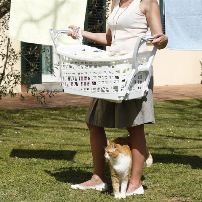 Καλάθι Ρούχων με Πόδια 60.5x39.5x68.5cm 44lt Λευκό BAMA Ιταλίας