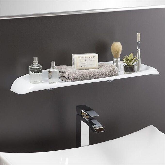 Εταζέρα - Ράφι Μπάνιου 60x15.5x6.5cm Πλαστική Επιτοίχια με Βίδες Λευκή BAMA Ιταλίας