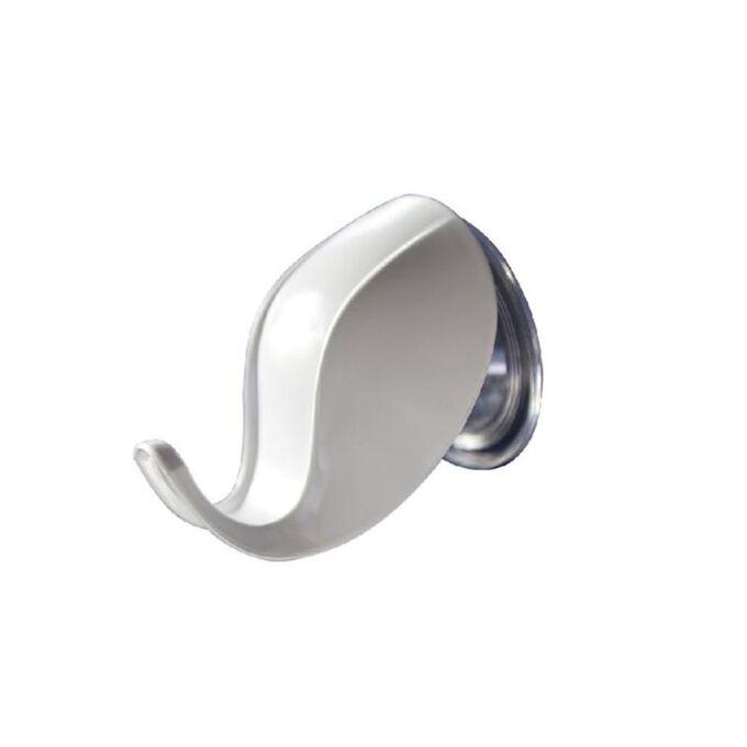 Άγκιστρο - Κρεμάστρα Μπάνιου Σετ 2 Τεμαχίων 7.1x9.1x7.3cm Πλαστικό Επιτοίχιο με Βεντούζα και Σύστημα Κλειδώματος Λευκό BAMA Ιταλίας