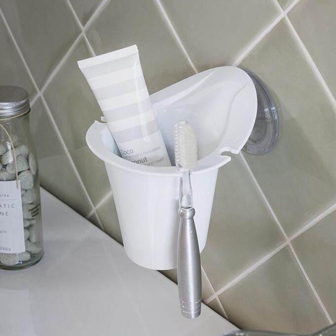 Θήκη Οδοντόβουρτσας Τοίχου 12.2x13.1x12.8cm Πλαστική με Βίδες Λευκή BAMA Ιταλίας
