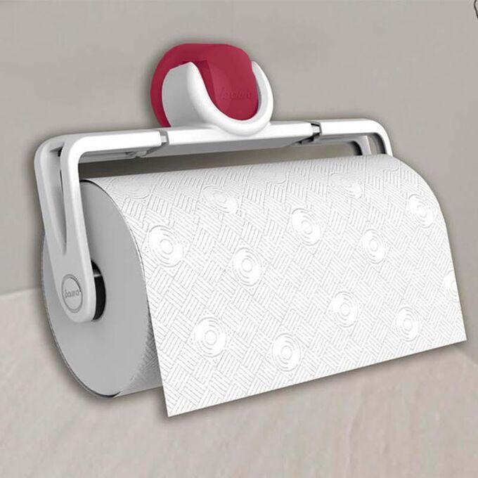 Βάση Χαρτιού Κουζίνας Πτυσσόμενη 25.1x5x16.2cm Πλαστική Επιτοίχια Λευκή-Βυσσινί BAMA Ιταλίας