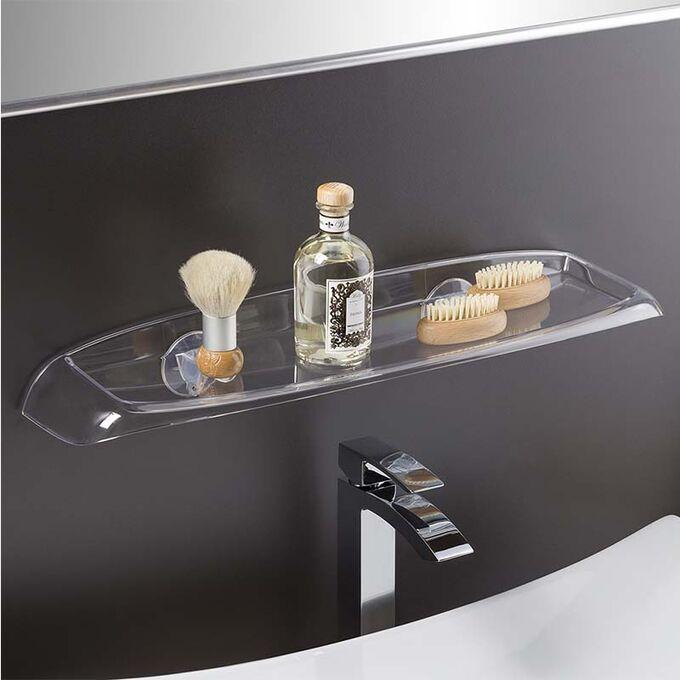 Εταζέρα - Ράφι Μπάνιου 60x15.5x6.5cm Πλαστική Επιτοίχια με Βίδες Διάφανη BAMA Ιταλίας