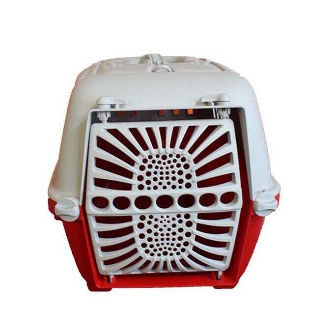 Κλουβί Μεταφοράς Κατοικιδίου 47x29x31cm με Χειρολαβή και Γάντζους για Υποδοχή Ιμάντα Κόκκινο-Γκρί ARTPLAST Ιταλίας