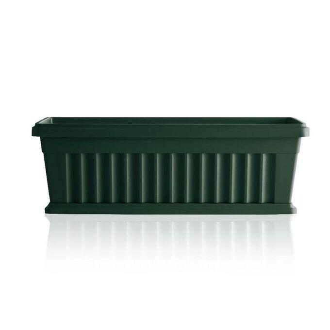 BAMA ITALY Ζαρντινιέρα Κήπου/Μπαλκονιού 40x18.5x16.5cm 7lt με Πιάτο Πράσινο Σκούρο