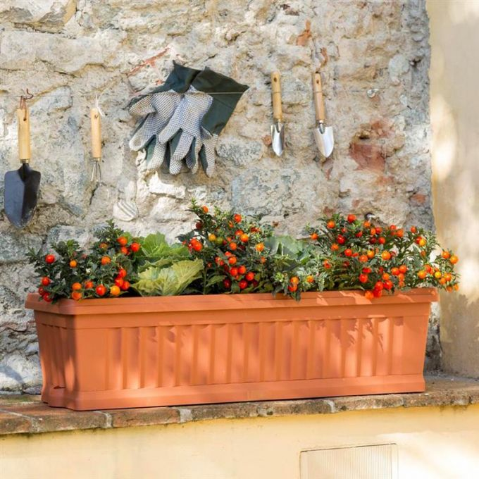 BAMA ITALY Ζαρντινιέρα Κήπου/Μπαλκονιού 40x18.5x16.5cm 7lt με Πιάτο Κεραμιδί