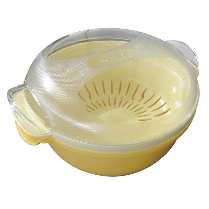 Ατμομάγειρας για Φούρνο Μικροκυμάτων Ø25x12.5cm με Αφαιρούμενο Δοχείο 1.8lt Πλαστικό Κίτρινο-Λευκό COOKY BAMA Ιταλίας