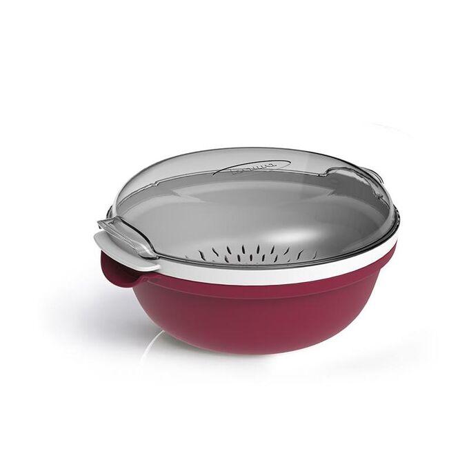 Ατμομάγειρας για Φούρνο Μικροκυμάτων Ø25x12.5cm με Αφαιρούμενο Δοχείο 1.8lt Πλαστικό Μπορντό-Λευκό COOKY BAMA Ιταλίας