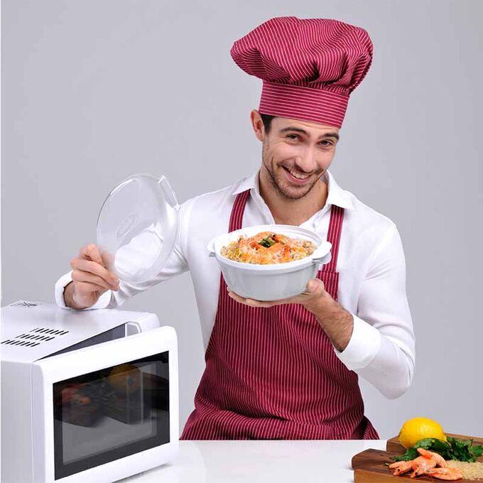 Ατμομάγειρας για Φούρνο Μικροκυμάτων Ø25x12.5cm με Αφαιρούμενο Δοχείο 1.8lt Πλαστικό Καφέ-Λευκό COOKY BAMA Ιταλίας