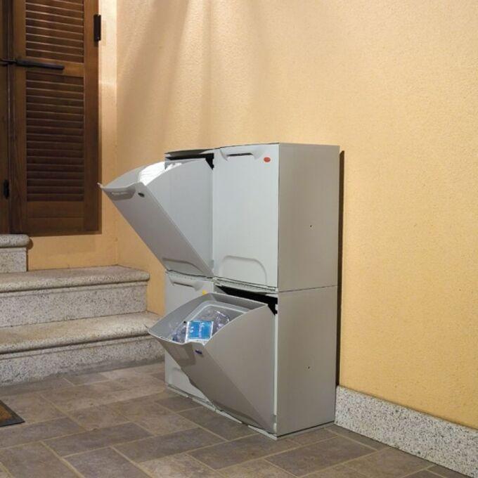 Κάδος Ανακύκλωσης Απορριμμάτων Κουζίνας 34x29x47cm 46+20lt Πλαστικός Λευκός ARTPLAST Ιταλίας
