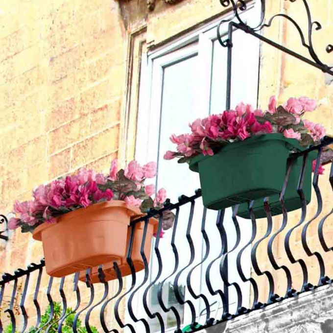BAMA ITALY Ζαρντινιέρα Διπλή Ρυθμιζόμενη σε Κουπαστή Πλαστική με Αποστράγγιση Επεκτεινόμενη 3-13cm Κεραμιδί