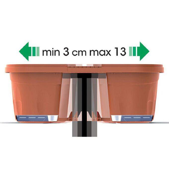 BAMA ITALY Ζαρντινιέρα 40x20x18.5cm Διπλή Ρυθμιζόμενη σε Κουπαστή Πλαστική με Αποστράγγιση Επεκτεινόμενη 3-13cm Λευκό