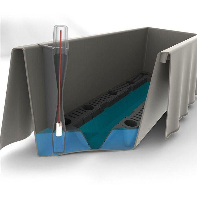 BAMA ITALY Ζαρντινιέρα Αυτοποτιζόμενη 50x20x17.5cm Κυματιστή 8,7lt Πλαστική Γκρι