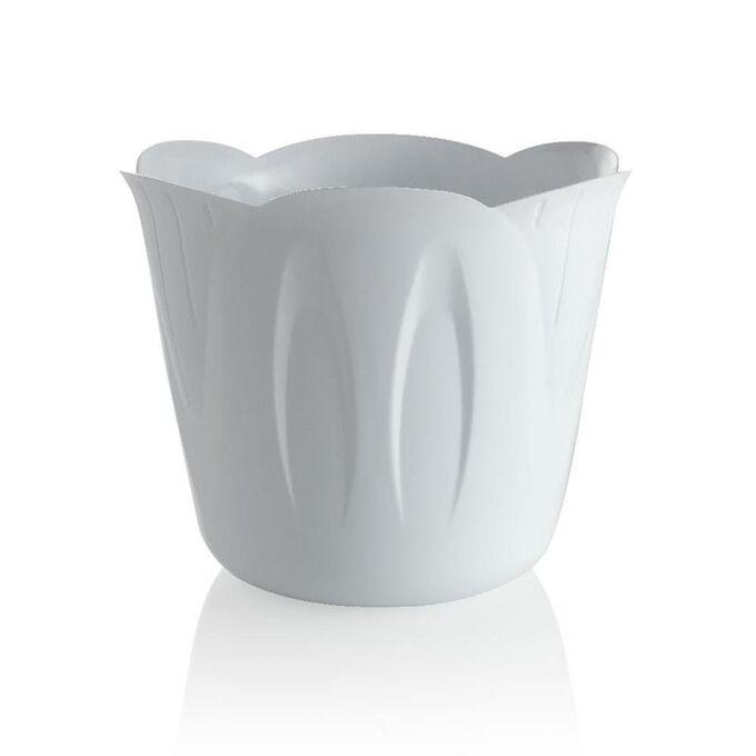 BAMA Κασπώ Πλαστικό Ø15x12cm 1lt με Σχέδιο σε 3 Μεγέθη Λευκό MIMOSA POT Ιταλίας