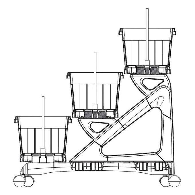 BAMA ITALY Σκαλιέρα με 3 Ζαρντινιέρες 80x74x73cm MAX Χωρητικότητα 30lt με 6 Τροχούς Πράσινη