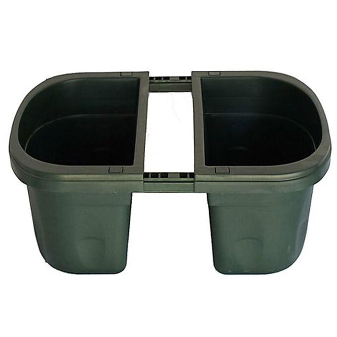 BAMA ITALY Ζαρντινιέρα Διπλή 40x20x18.5cm Ρυθμιζόμενη σε Κουπαστή Πλαστική με Αποστράγγιση Επεκτεινόμενη 3-13cm Πράσινη