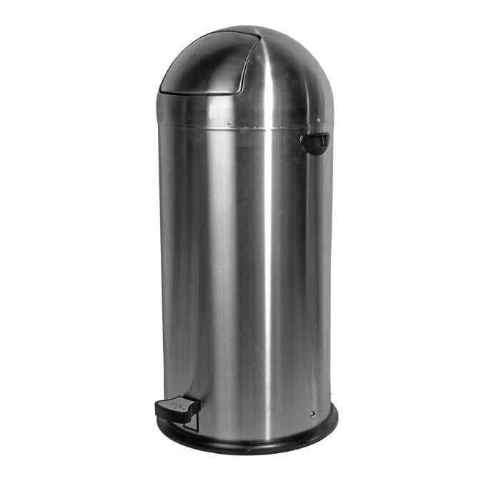 Κάδος απορριμάτων 52lt INOX ΜΑΤ Διπλός Φ39x88 5,5kg Βαρέως Τύπου Επαγγελματικός με Δεύτερο Γαλβανιζέ Κάδο Φ32x68 PUSH Καπάκι με Πεντάλ