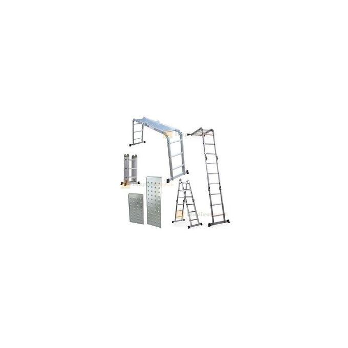 Σκάλα Αλουμινίου 4X3 Πολυμορφική MAX Ύψος 3.5m με Πλατφόρμα MAX Αντοχη 150kg Πιστοποίηση EN-131