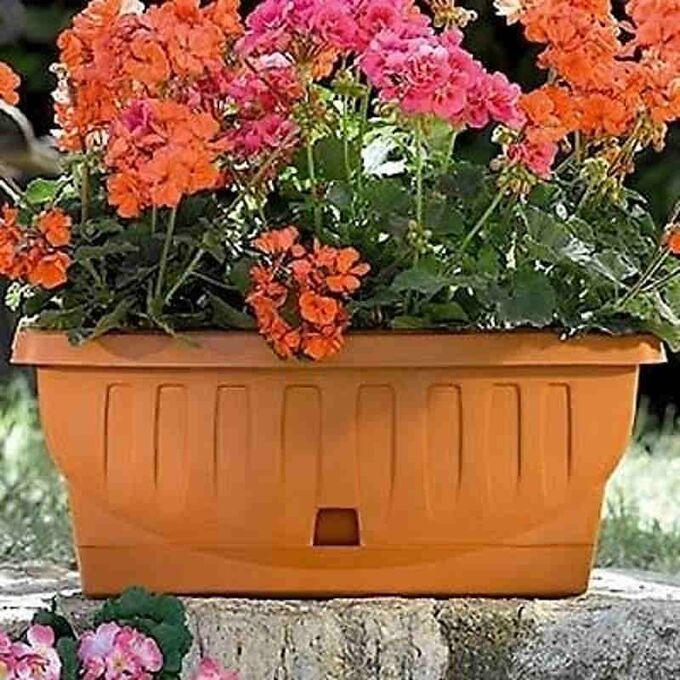 BAMA ITALY Ζαρντινιέρα Decor 30cm/40cm/50cm με Αυτοποτιζόμενο Πιάτο Πλαστική Κεραμιδί NATURA